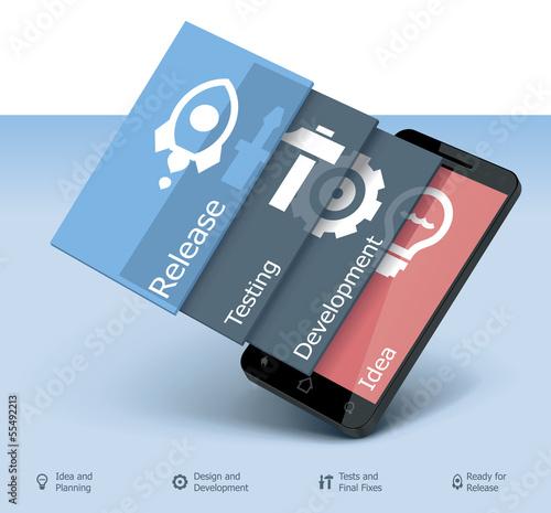 Fotografía  Vector mobile app development icon