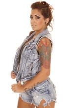 Woman Tattoos Denim Vest Side Serious