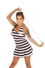 Woman Tattoos Prison Handcuffs Serious
