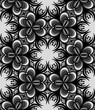 Floral Graphic Seamless Pattern. Black and White Background.