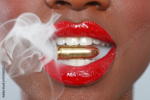 Lips of a Woman With A Bullet and Smoke Poster