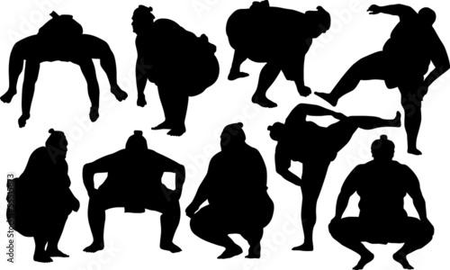 Pinturas sobre lienzo  Sumo wrestlers silhouette