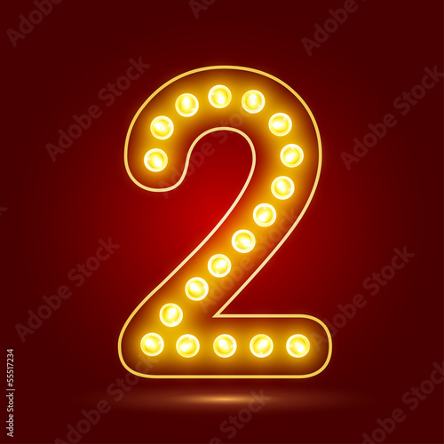 Number 2 with realistic lamp, vector illustration. Poster