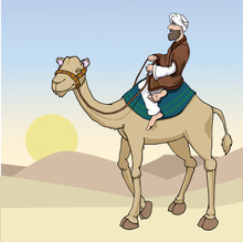 Cartoon Arab Man Riding A Came...