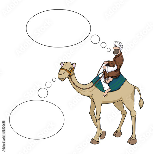 Fotografering  Arab man riding a camel speech bubbles, vector illustration