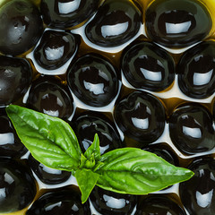 Panel Szklany Black olives and basil