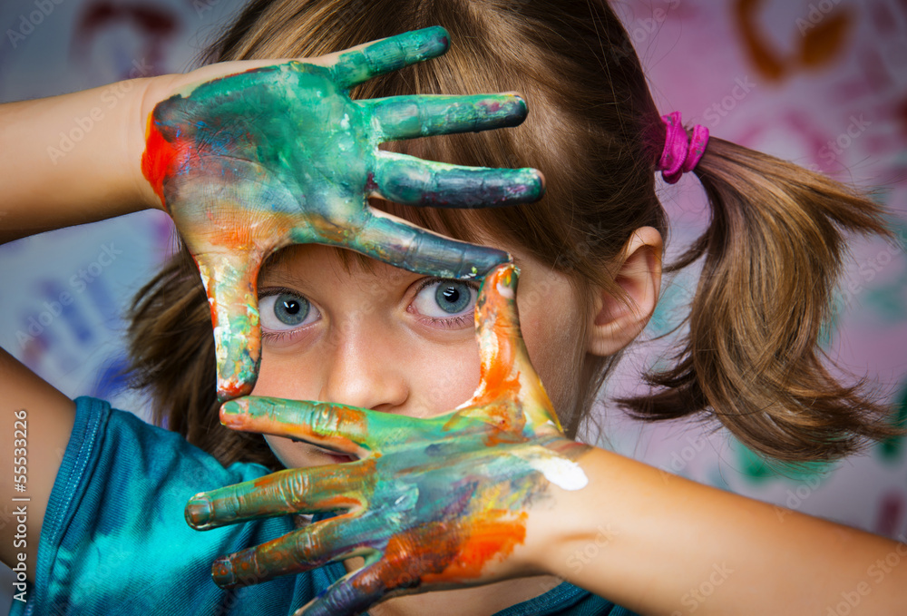 Fototapety, obrazy: little girl and colors - portrait