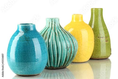 Fotografía  Decorative ceramic vases isolated on white
