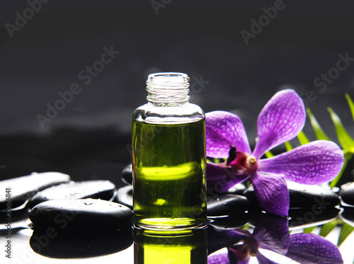 Poster Spa Still life with orchid ,massage oil, fern and zen stones