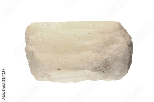 Crystal of white beryl isolated on white Wallpaper Mural