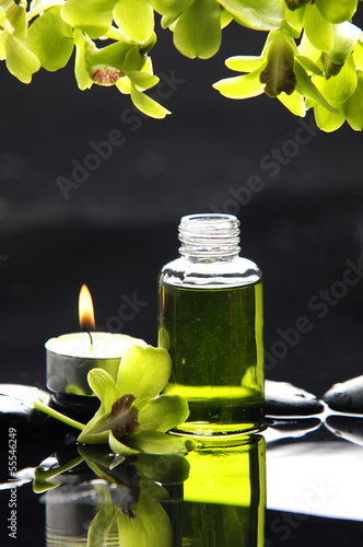 Poster Spa Still life with orchid ,massage oil, candle