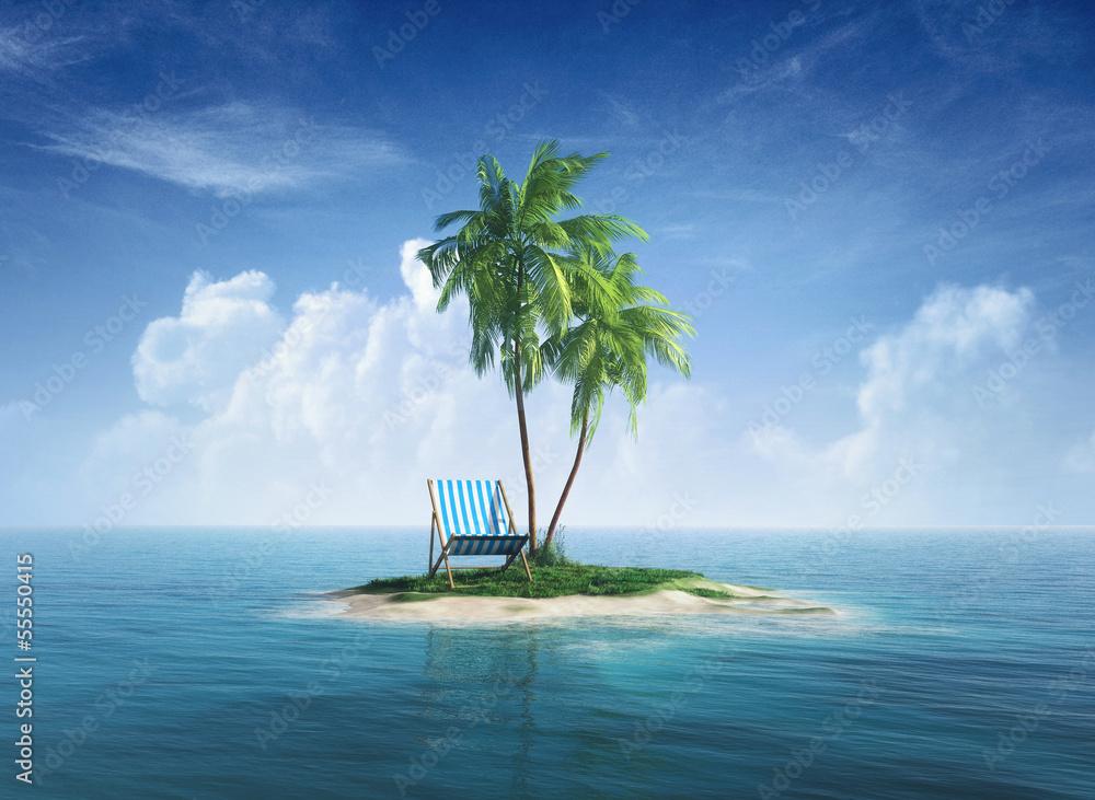 Fototapeta Desert tropical island with palm tree, chaise lounge.
