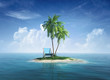 canvas print picture - Desert tropical island with palm tree, chaise lounge.