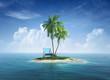 Leinwandbild Motiv Desert tropical island with palm tree, chaise lounge.