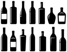 Set Of Glossy Wine Bottles