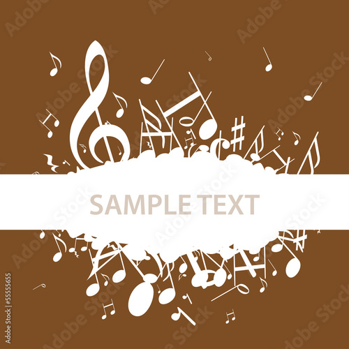 Autocollant - Hintergrund Musik Noten Notenschlüssel