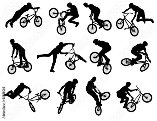 Photo 12 bmx stunt silhouettes - vector