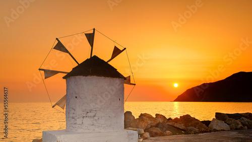 Obraz Zachód słońca na Amorgos, Cyklady, Grecja - fototapety do salonu