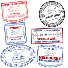 Set Of Passport Grunge Stamps