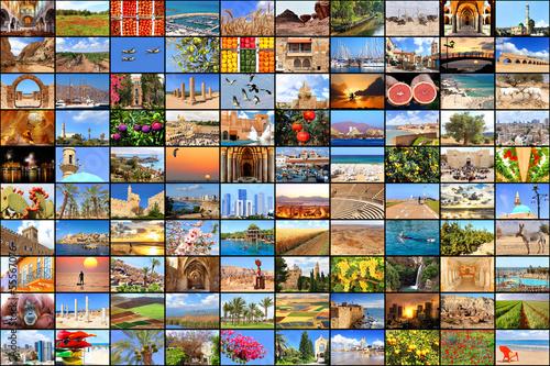 Deurstickers Stained Mediterranean vacation concept