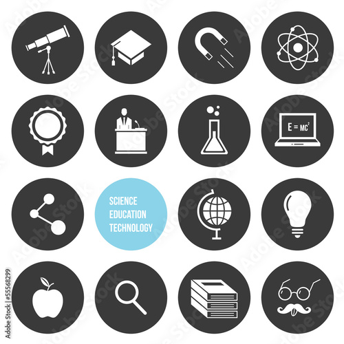Poster  Vector Science Education and Technology Icons Set