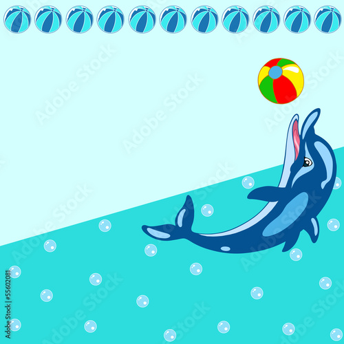 Poster Dolphins Pattern with cartoon dolphin