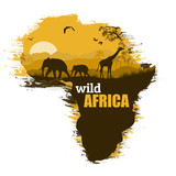 Wild Africa grunge poster background, vector illustration