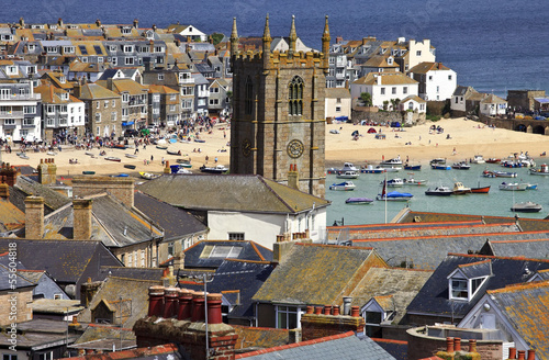 Roof top view of the harbour at St. Ives Cornwall, England Poster