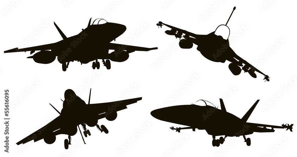 Photo  Military aircraft  silhouettes  collection. Vector EPS 8