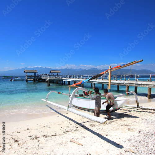 Foto op Plexiglas Indonesië Indonésie - Jukung à Gili Trawangan