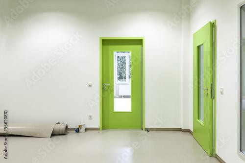 Grune Tur Mit Glaseinsatz Buy This Stock Photo And Explore Similar