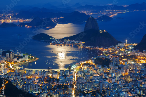 Night view of mountain Sugar Loaf and Botafogo in Rio de Janeiro