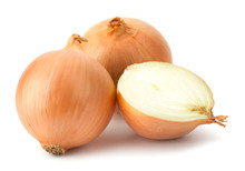 Fresh Bulbs Of Onion On A Whit...