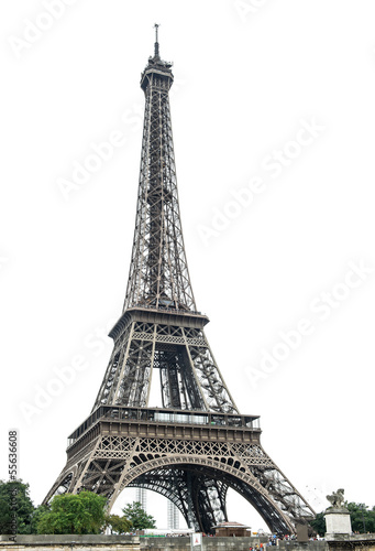 Eiffel Tower over white background Plakat
