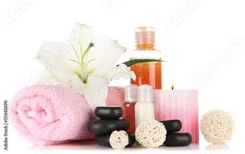 Akustikstoff - Beautiful spa setting with lily isolated on white
