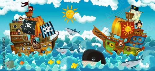 Naklejka premium Piraci na morzu - bitwa - ilustracja dla dzieci