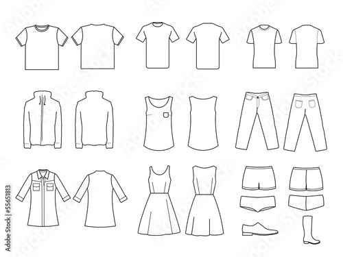 Clothes / Clothing line drawing - Buy this stock illustration and