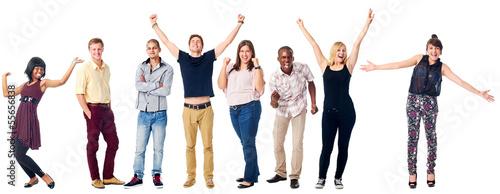 Canvas Print happy diverse people