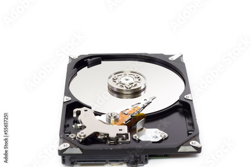 Fotografia  OPEN Hard disk isolated on a white background