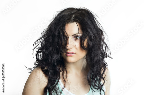 Fotografie, Obraz  Brunette woman with disheveled hair