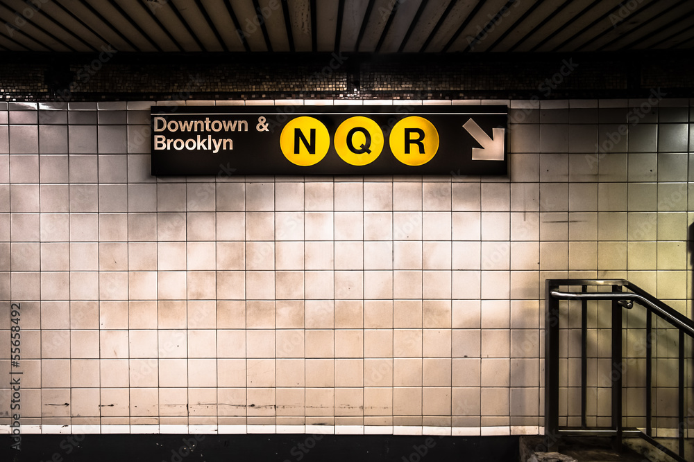 Fototapety, obrazy: New York City subway with sign
