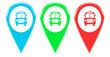 Iconos o marcadores de colores con símbolo de bus