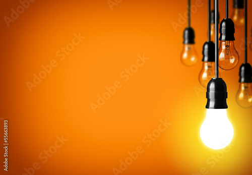 Obraz Idea concept on orange background. - fototapety do salonu