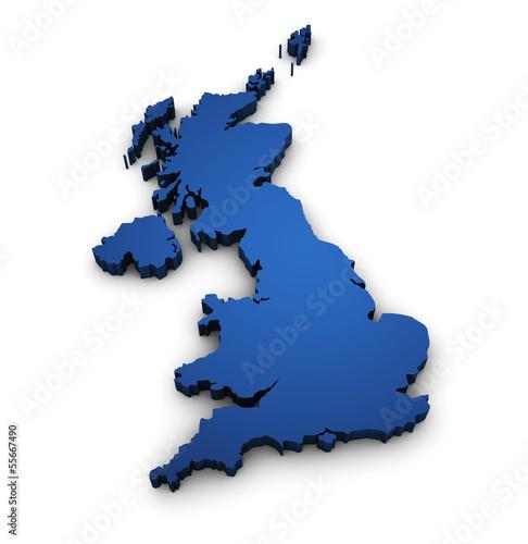 Photo  Map Of United Kingdom 3d Shape