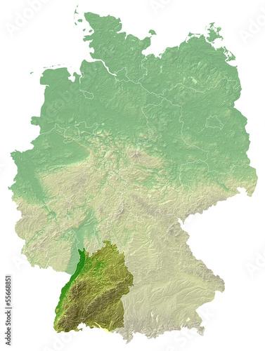 Baden Wurttemberg Topografische Relief Karte Deutschland Buy