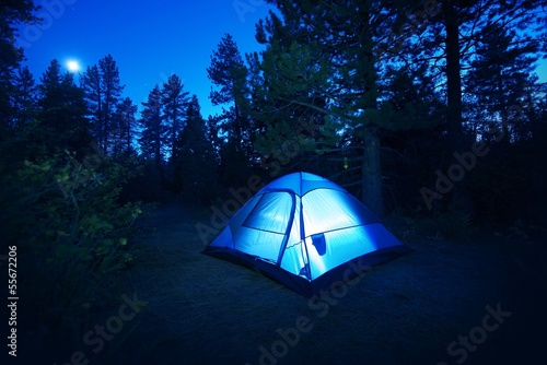 Fotobehang Volle maan Forest Camping - Tent