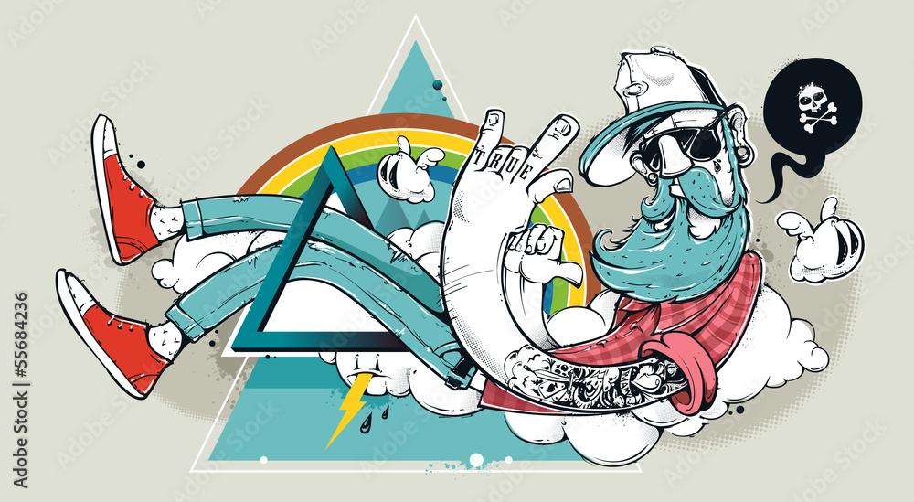 Streszczenie graffiti hipster <span>plik: #55684236 | autor: Vecster</span>