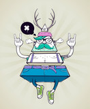 Fototapeta Teenage - Triangle hipster bizarre character