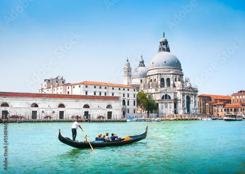 Poster Venise Gondola on Canal Grande with Santa Maria della Salute, Venice