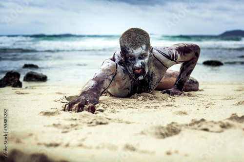 zombie on the beach Wallpaper Mural